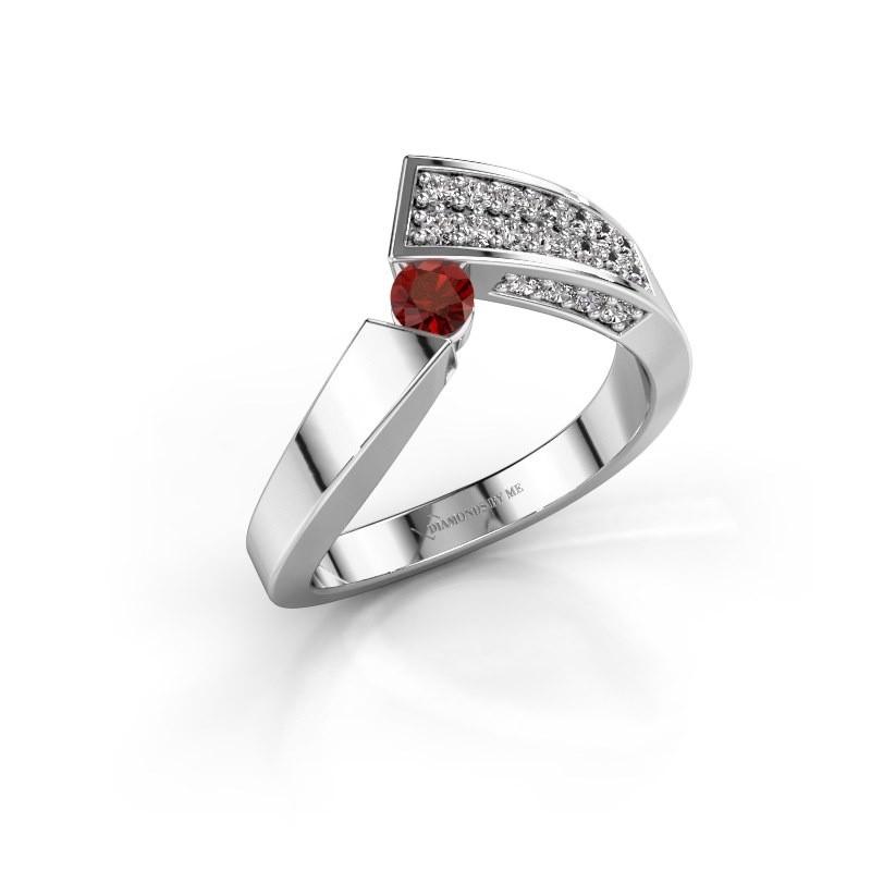 Ring Evie 585 Weißgold Granat 3.4 mm