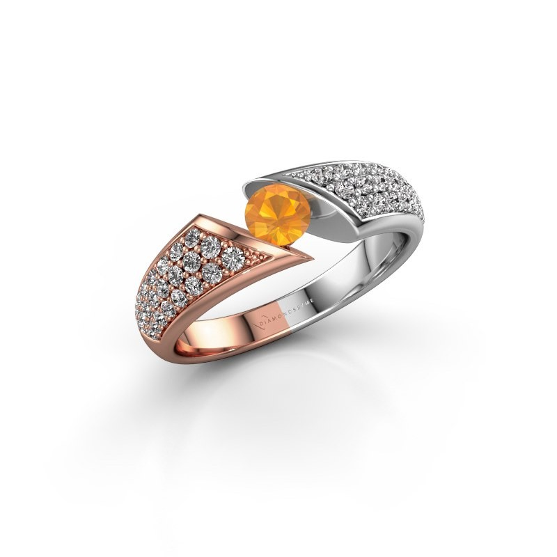 Engagement ring Hojalien 3 585 rose gold citrin 4.2 mm