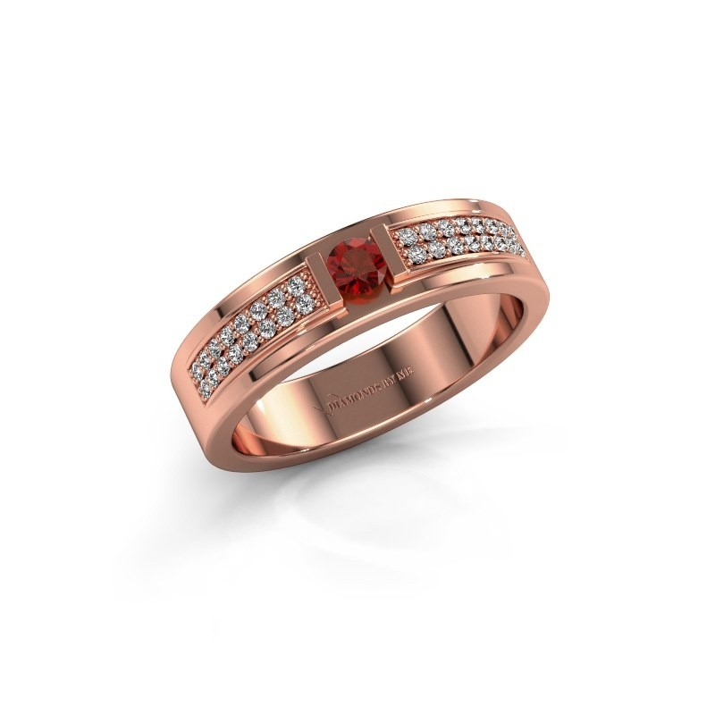 Ring Chanell 375 rosé goud granaat 3 mm