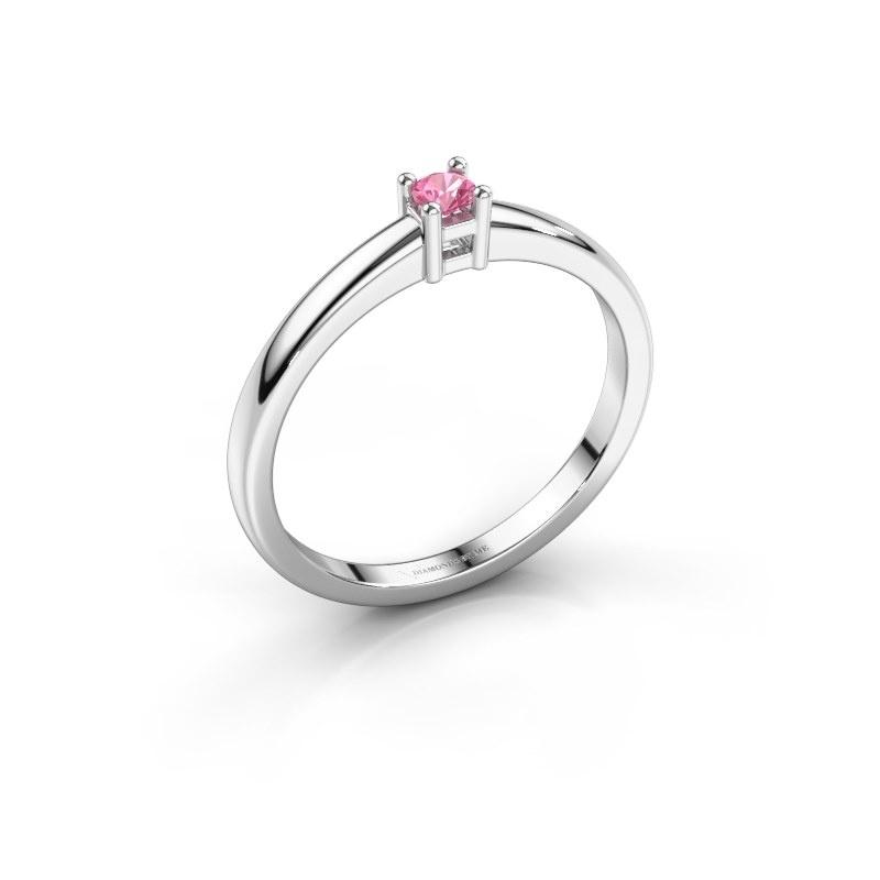 Promise ring Eline 1 950 platina roze saffier 3 mm