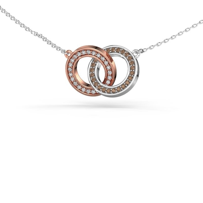 Halsketting Circles 2 585 rosé goud bruine diamant 0.25 crt
