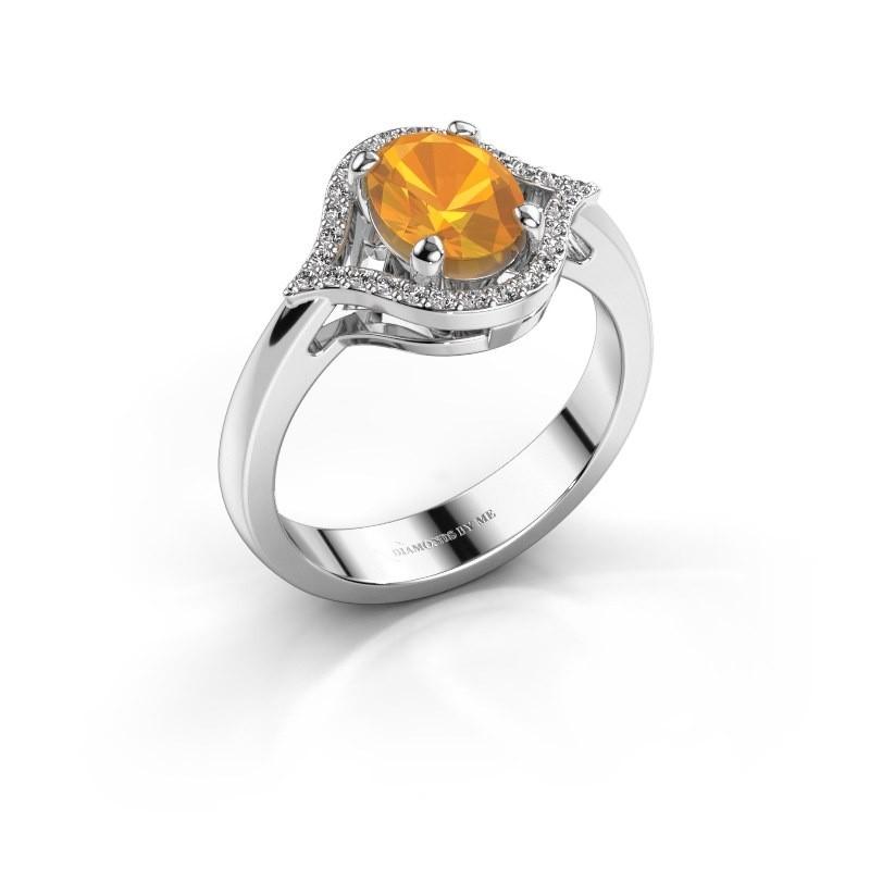 Ring Mendy 585 witgoud citrien 8x6 mm