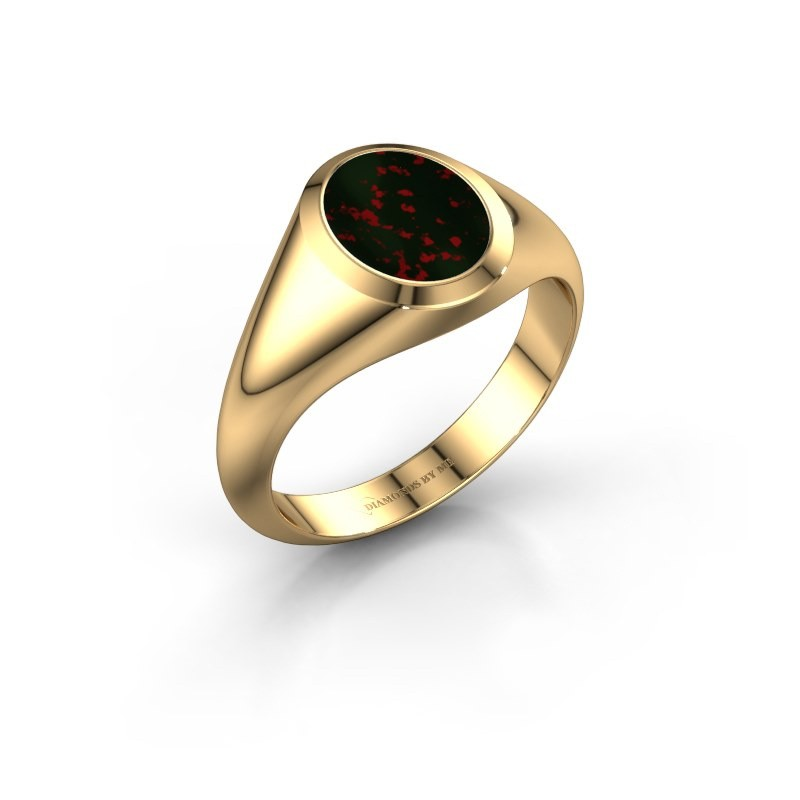 Signet ring Evon 1 585 gold bloodstone 10x8 mm