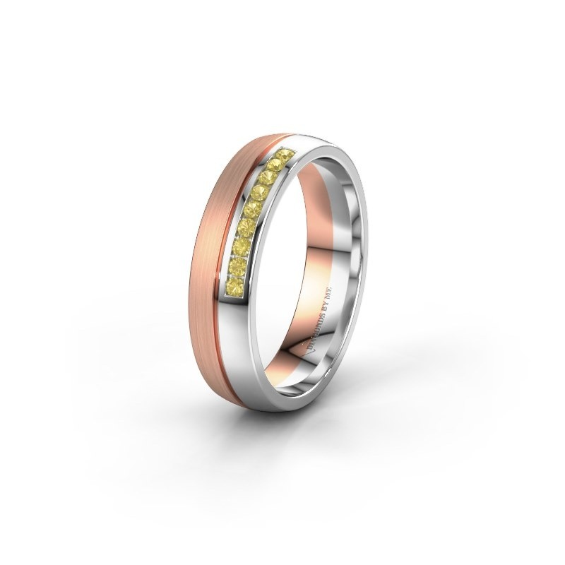 Wedding ring WH0209L25APM 585 rose gold yellow sapphire ±0.20x0.07 in
