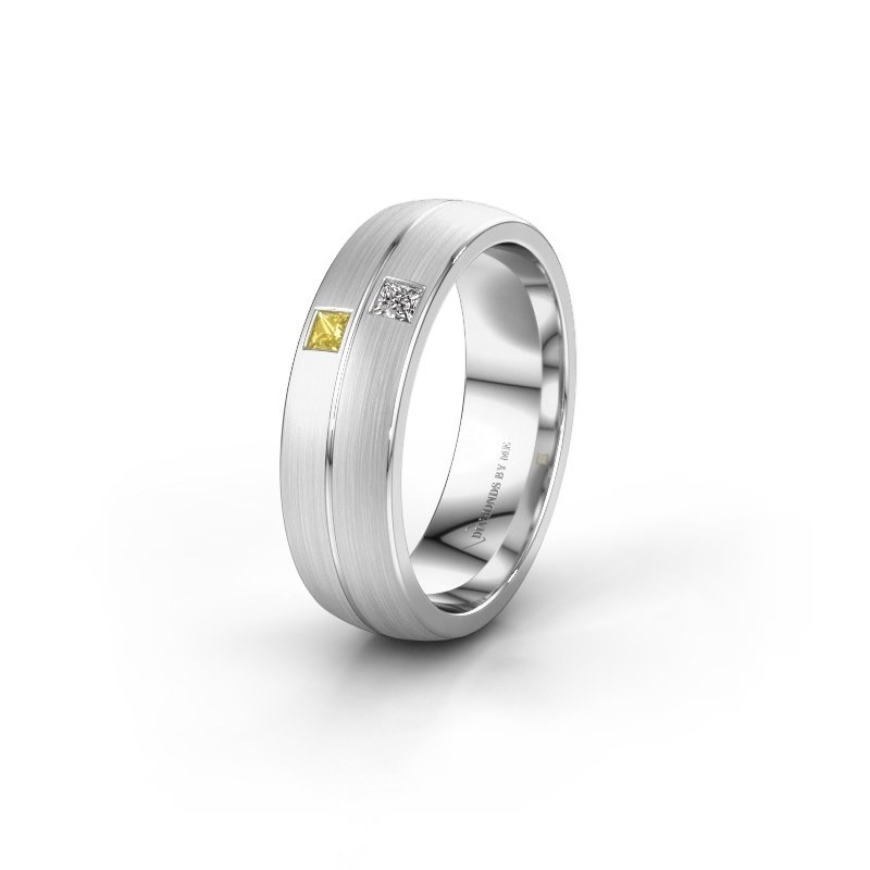 Wedding ring WH0250L26BM 585 white gold yellow sapphire ±0.24x0.08 in