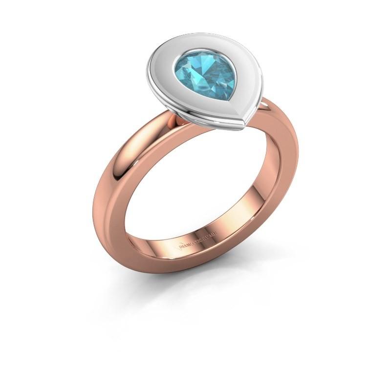 Stapelring Eloise Pear 585 rosé goud blauw topaas 7x5 mm