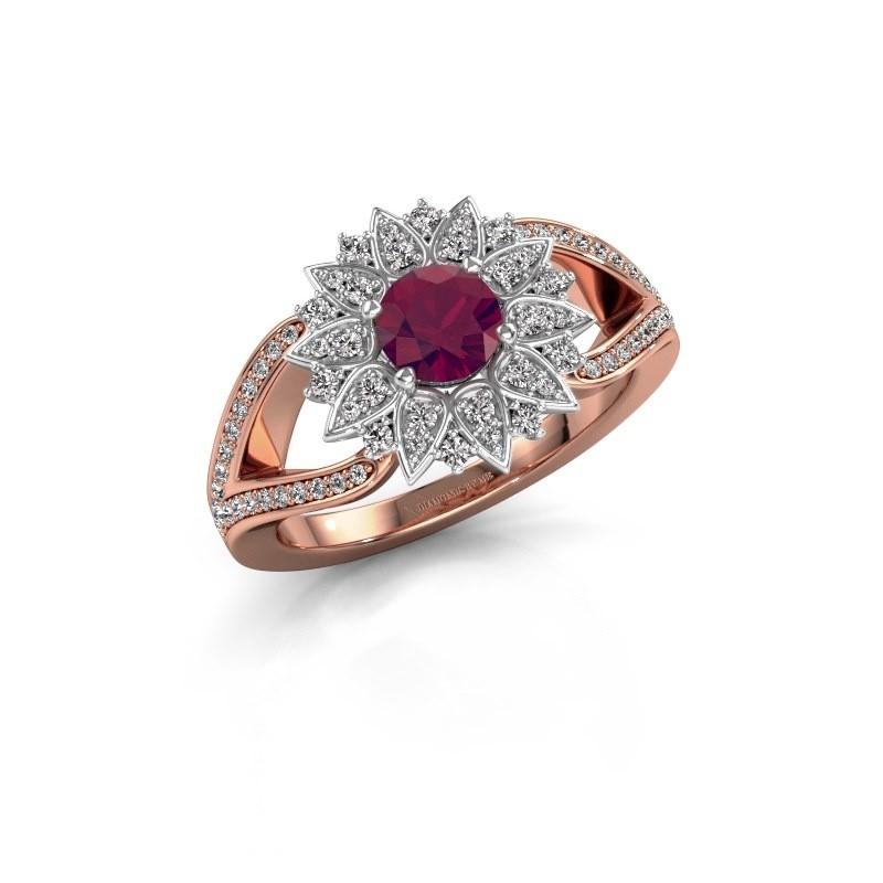Aanzoeksring Chasidy 2 585 rosé goud rhodoliet 5 mm