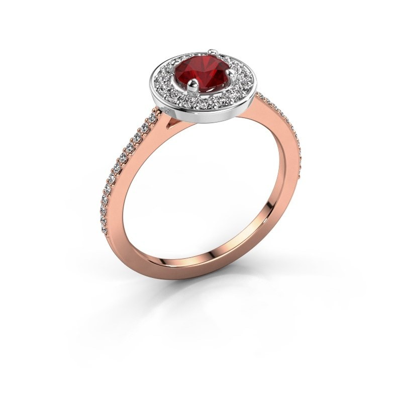 Ring Agaat 2 585 rose gold ruby 5 mm