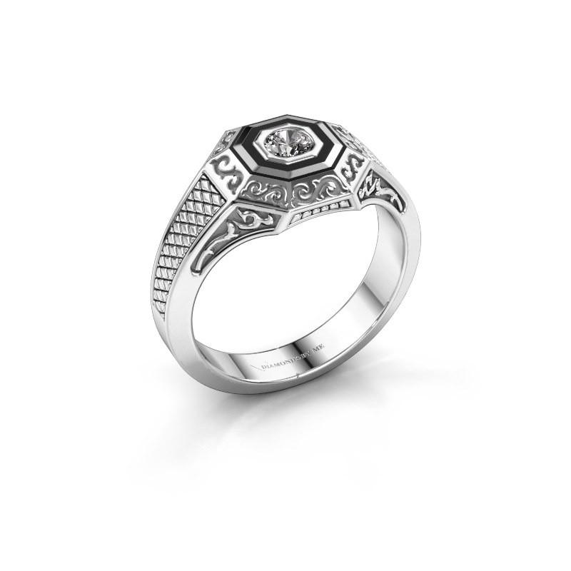 Men's ring Dion 375 white gold zirconia 4 mm