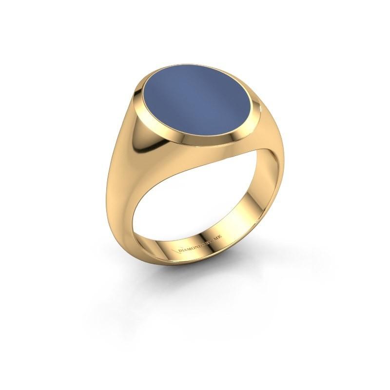 Zegelring Herman 4 585 goud blauw lagensteen 15x12 mm