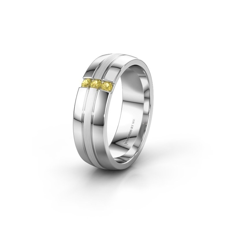 Wedding ring WH0426L26A 585 white gold yellow sapphire ±0.24x0.07 in