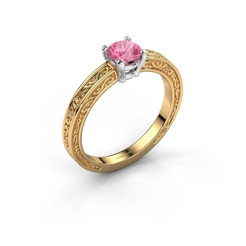 Verlovingsring Claudette 1 585 goud roze saffier 5 mm
