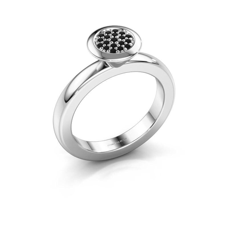 Stapelring Rani 585 witgoud zwarte diamant 0.117 crt
