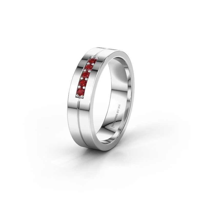 Wedding ring WH0211L15AP 925 silver ruby ±0.20x0.07 in