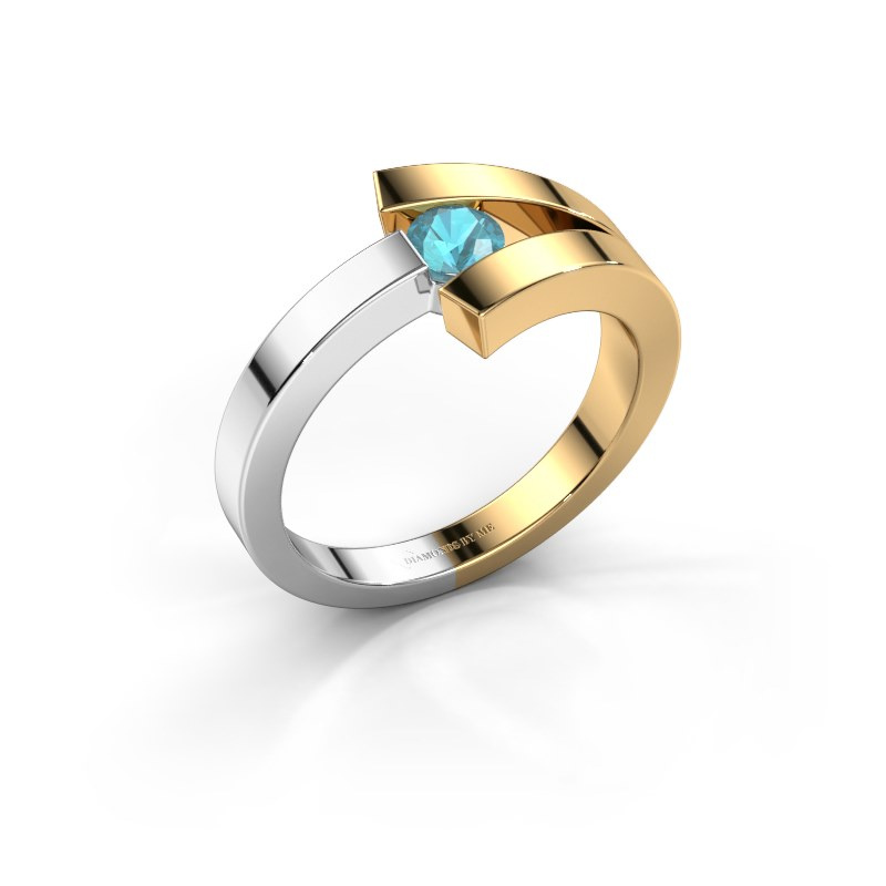 Ring Sofia 585 gold blue topaz 3.7 mm