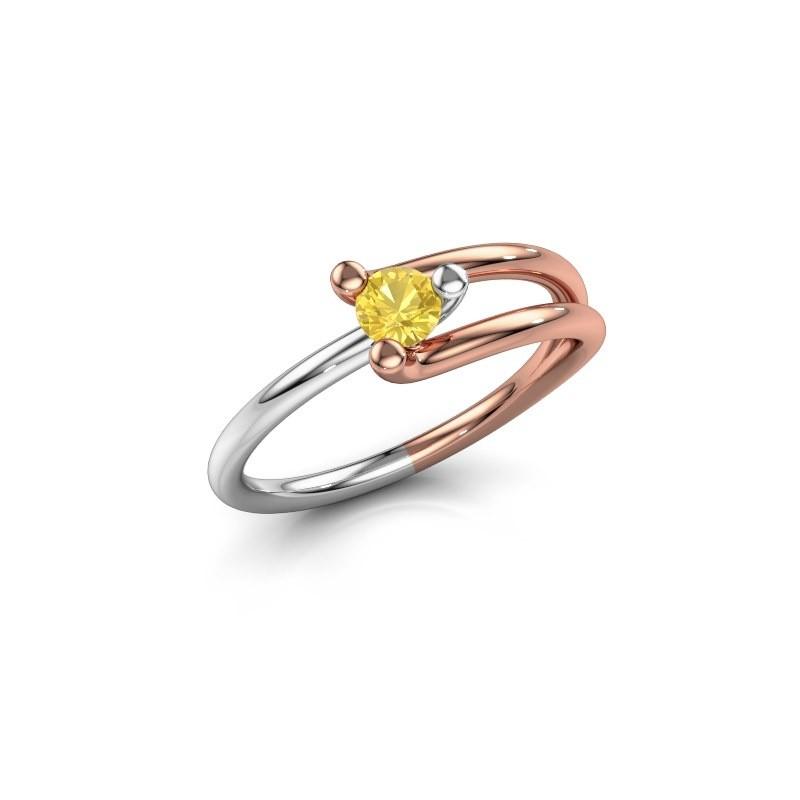 Ring Roosmarijn 585 Roségold Gelb Saphir 3.7 mm