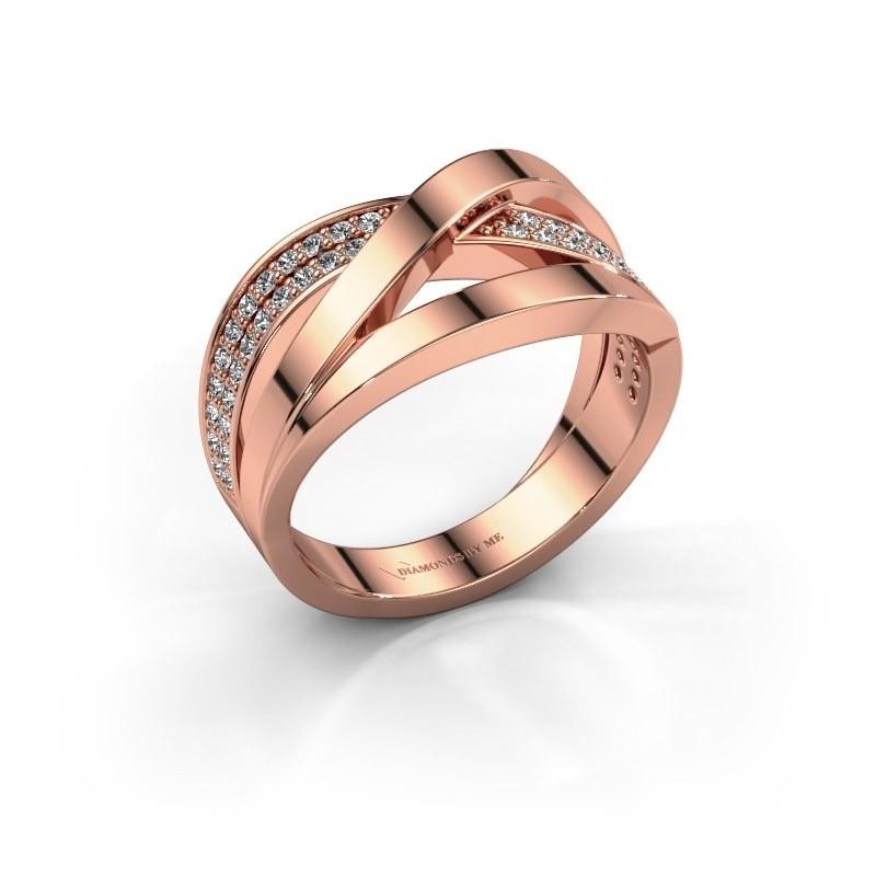 Ring Amira 375 rosé goud zirkonia 1.2 mm