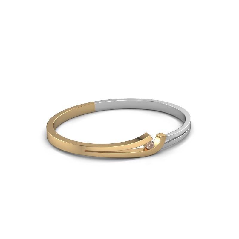 Slavenarmband Yentl 585 goud bruine diamant 0.20 crt