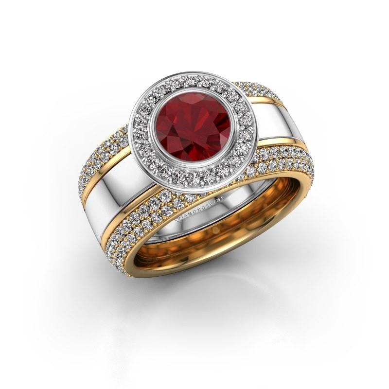 Ring Roxie 585 witgoud robijn 6.5 mm