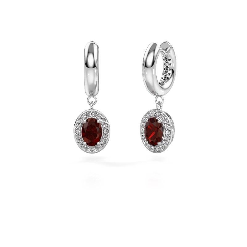 Drop earrings Annett 375 white gold garnet 7x5 mm