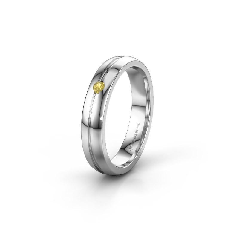 Trouwring WH0424L24A 925 zilver gele saffier ±4x1.7 mm