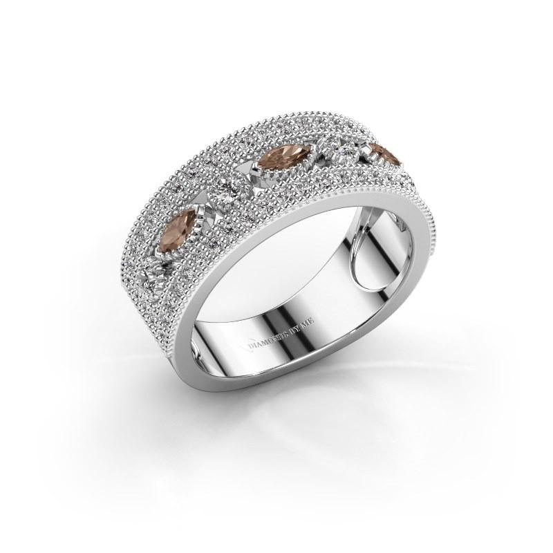 Ring Henna 950 platina bruine diamant 0.768 crt