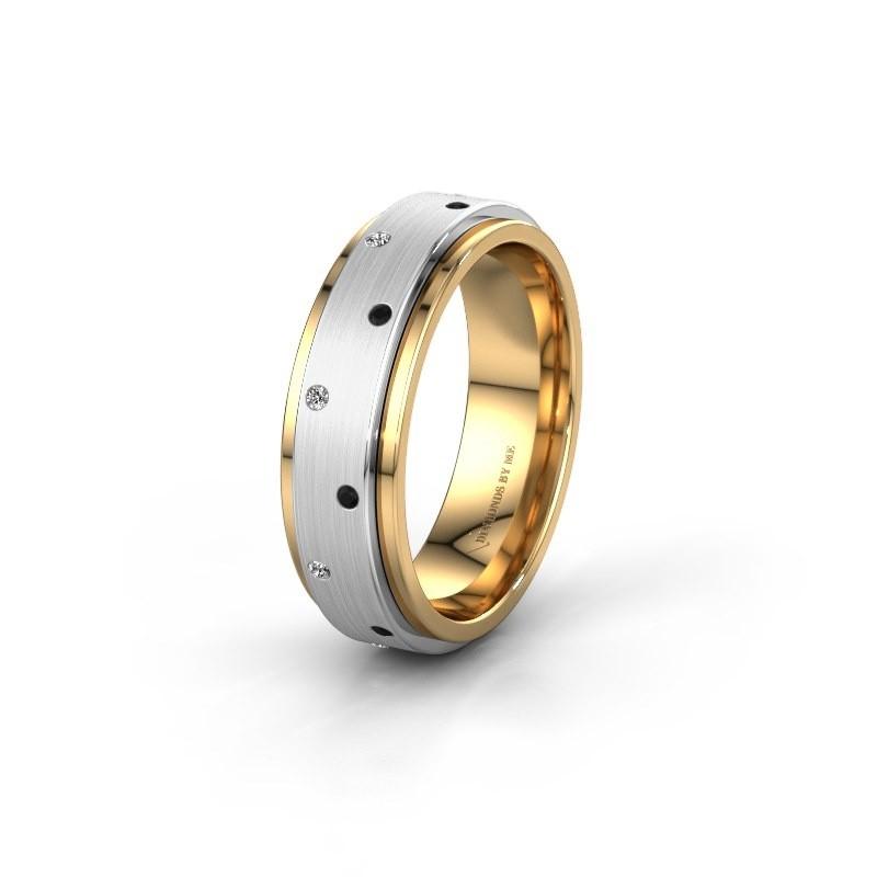 Trouwring WH2134L 585 goud zwarte diamant ±6x2.2 mm