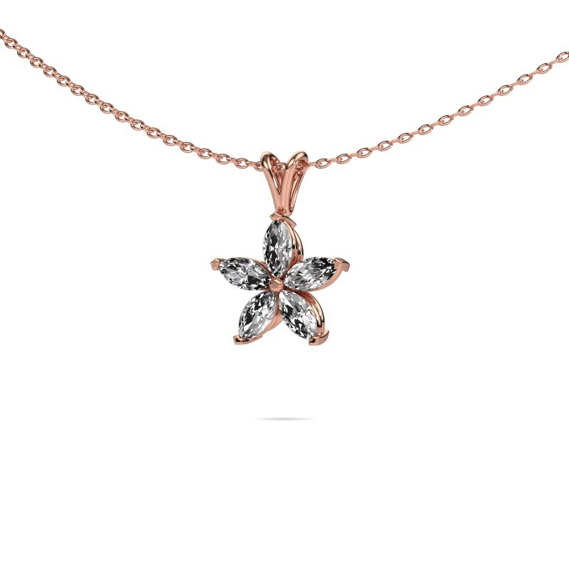 Ketting Sylvana 375 rosé goud lab-grown diamant 0.14 crt