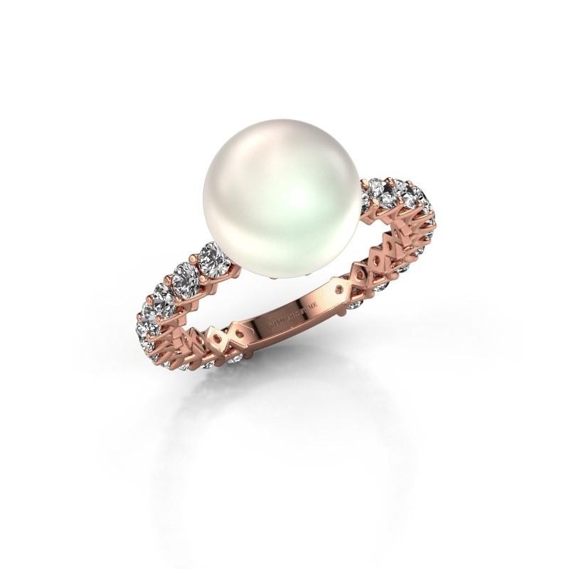 Ring Nele 375 rosé goud witte parel 9 mm