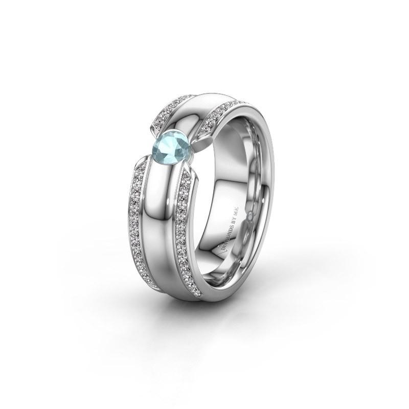 Wedding ring WHR0575L 950 platinum aquamarine ±7x2 mm