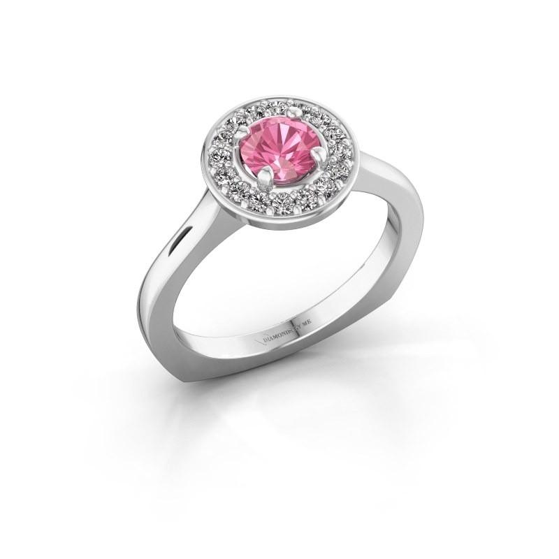 Ring Kanisha 1 925 zilver roze saffier 5 mm