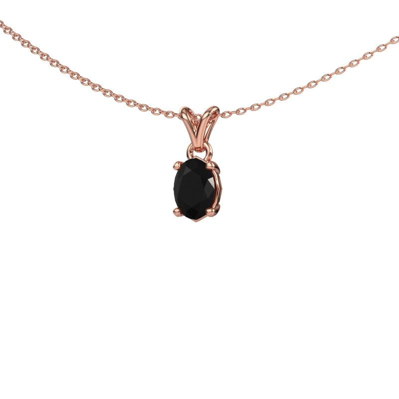 Ketting Lucy 1 585 rosé goud zwarte diamant 0.96 crt