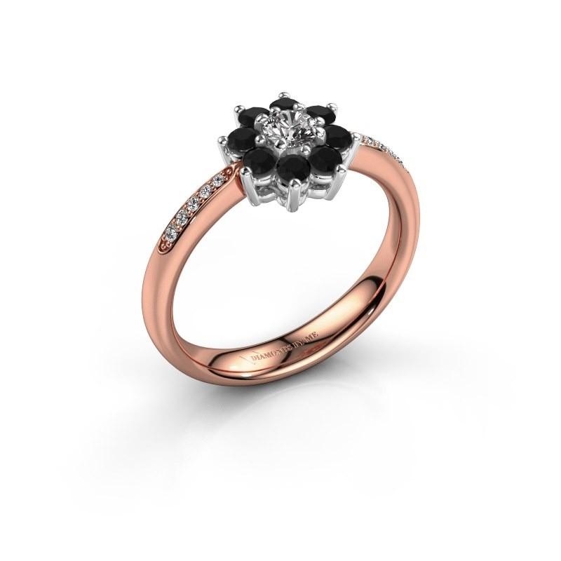 Verlovingsring Camille 2 585 rosé goud zwarte diamant 0.18 crt