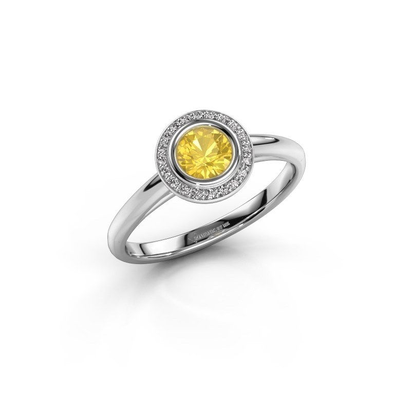 Promise ring Noud 1 RND 585 white gold yellow sapphire 4.7 mm