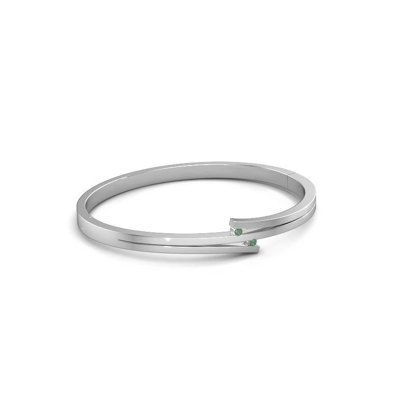 Armband Roxane 585 witgoud smaragd 2 mm