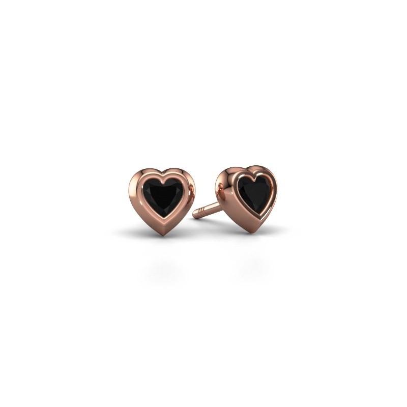 Oorknopjes Charlotte 375 rosé goud zwarte diamant 0.60 crt