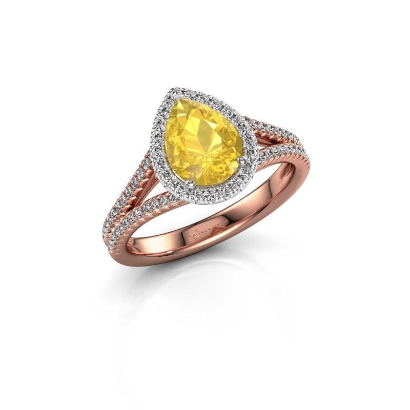 Verlovingsring Verla pear 2 585 rosé goud gele saffier 8x6 mm