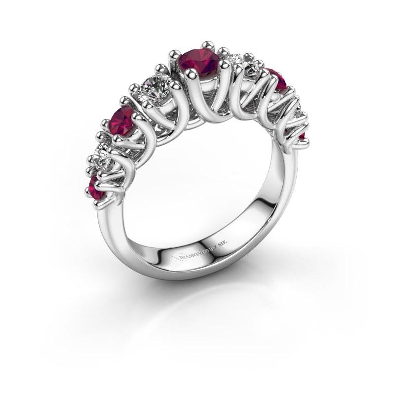 Engagement ring Fatima 925 silver rhodolite 3.7 mm