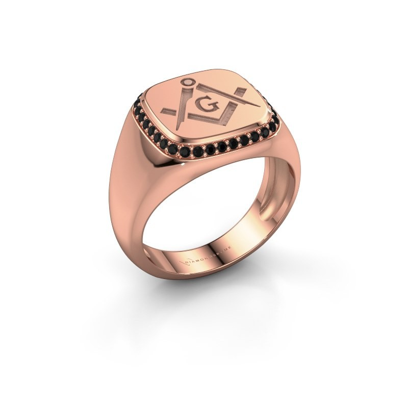 Men's ring Johan 375 rose gold black diamond 0.306 crt