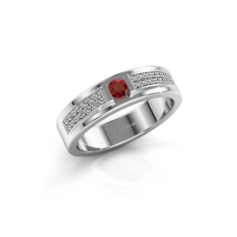 Ring Chanell 585 witgoud granaat 3 mm