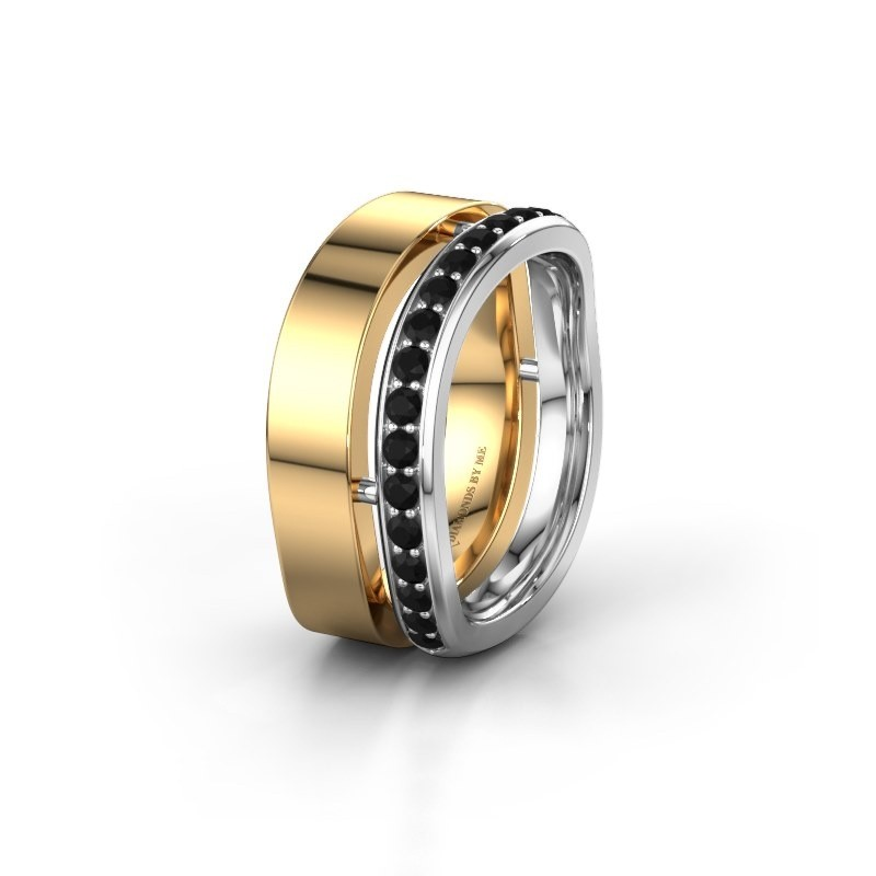 Weddings ring WH6008L18BP 585 gold black diamond ±10x2 mm