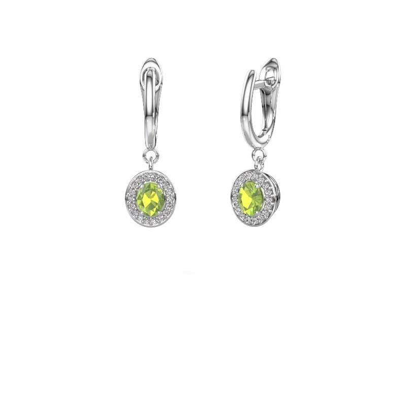 Drop earrings Nakita 950 platinum peridot 5x4 mm