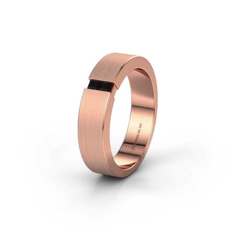Wedding ring WH2136L15E 375 rose gold black diamond ±5x2.6 mm