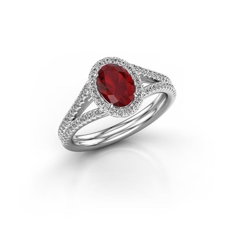 Engagement ring Rachele 2 950 platinum ruby 7x5 mm