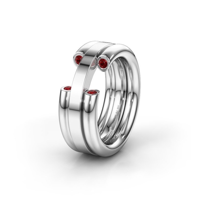 Wedding ring WH6018L 950 platinum ruby ±8x3 mm