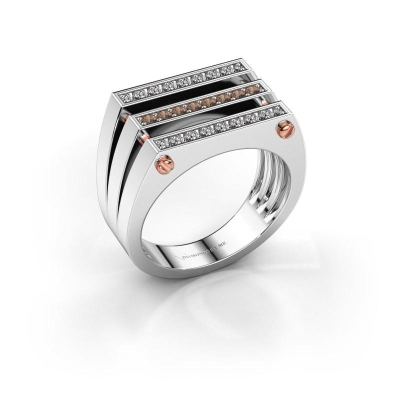Heren ring Jauke 585 witgoud bruine diamant 0.48 crt
