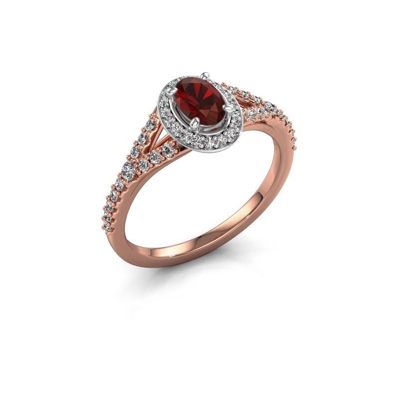 Belofte ring Pamela OVL 585 rosé goud granaat 7x5 mm