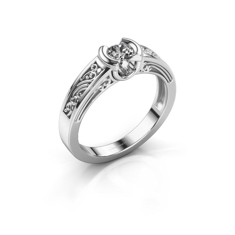 Ring Elena 585 white gold zirconia 4 mm