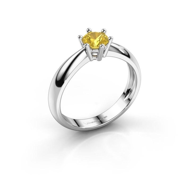 Verlovingsring Fay 925 zilver gele saffier 5 mm