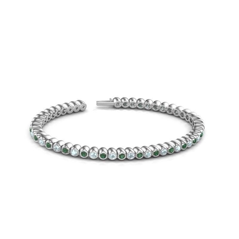 Tennisarmband Patrica 585 witgoud smaragd 2.4 mm